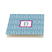 Blue and Hot Pink 'Greek' Folded Note Cards, Set of 12 Monogrammed 'D' with envelopes