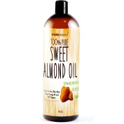 Sweet Almond Oil - Molivera Organics 470ml Premium, Grade A, Cold Pressed, 100% Pure Best Natural Oil for Hair, Skin, Scalp and Massage Carrier Oils - Perfect for DIY Hair,Skin & Acne products - Great for Aromatherapy - UV Resistant BPA free bottle - ..