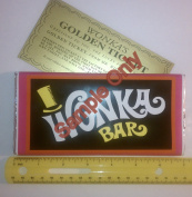 130ml sized Willy Wonka Chocolate Bar wrapper with Golden Ticket replica-no chocolate included