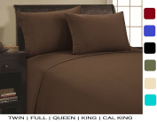 Elegance Linen ® 1500 Thread Count SCROLL DESIGN Egyptian Quality Luxurious Silky Soft WRINKLE & FADE RESISTANT 4 pc Sheet set, Deep Pocket Up to 41cm - All Size and Colours , Queen Chocolate
