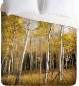DENY Designs Bird Wanna Whistle Golden Aspen Lightweight Duvet Cover, Queen