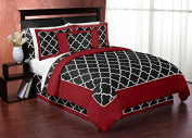 Red and Black Trellis 3 Piece Full / Queen Bedding Set Collection by Sweet Jojo Designs