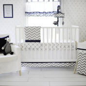 My Baby Sam Out of The Blue Crib Set, Navy/Grey