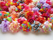 (100) Assorted Silk Roses Flower Head - 4.4cm - Artificial Flowers Heads Fabric Floral Supplies Wholesale Lot for Wedding Flowers Accessories Make Bridal Hair Clips Headbands Dress