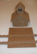 Putz Style Little Village Cardboard House-School with Flicker Light Hole