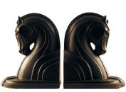 Made 4 Museum Art Deco Horse Head Bookends, Hand Patinated Dark Bronze