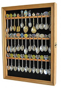 36 Souvenir Spoon Display Case Rack Cabinet Holder Shadow Box, REAL Glass Door, Oak Finish