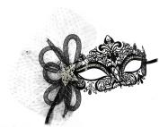 Simone Laser-Cut Metal Black Venetian Women's Masquerade Mask w/ Tubular Flower