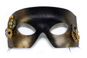 Gears Gold Steampunk Men's Masquerade Mask