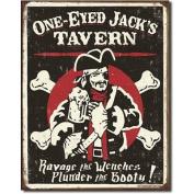 One Eyed Jack's Tavern Distressed Retro Vintage Tin Sign