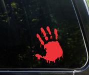BLOODY ZOMBIE HAND PRINT(Right Hand) - 14cm RED (IKON SIGN ORIGINAL) - Vinyl Decal WINDOW Sticker - NOTEBOOK, LAPTOP, WALL, WINDOWS, ETC.