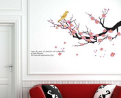 Hotportgift Plum Flowers Tree Birds Bed Room Decals Decor Art Mural Wall Stickers Removable