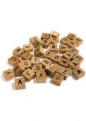 200 Pc MINI Wooden Alphabet Tile Set 1.3cm