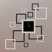 Toprate(TM) Creative Black and Silver Rectangle Square Modern . Wall Clock Mirror Wall Clock Fashion Modern Design Removable DIY Acrylic 3D Mirror Wall Decal Wall Sticker Decoration