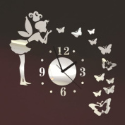 ColorfulHall - Angel Beauty Butterfly and Figure Wall Clock Removable DIY Acrylic 3D Mirror Wall Decal Wall Sticker Home Decoration