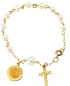 Freshwater Pearl Rosary Bracelet in 14k Yellow Gold