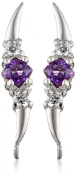 The Ear Pin Amethysts and Cubic Zirconias Triple Stone Sterling Silver Earrings