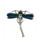 Sterling Silver and Created Opal 37mm X 32mm Dragonfly Pin Pendant.