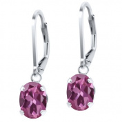 1.70 Ct Oval Pink Tourmaline 925 Sterling Silver Earrings