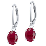 3.78 Ct Oval Red Ruby 925 Sterling Silver Earrings