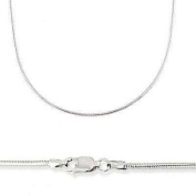 14k Solid White Gold Round Snake Chain Necklace 1mm 20""