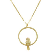.925 Sterling Silver Yellow Gold Plated Bird Circle Womens Pendant Necklace