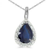 14k White Gold Pear Sapphire Pendant with 46cm Chain