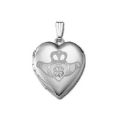 "Sterling Silver ""Sweetheart"" Celtic Claddagh Locket 1.9cm X 1.9cm"
