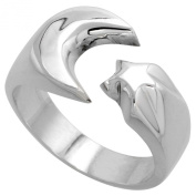 Sterling Silver Crescent Moon & Star Ring Handmade 1.3cm wide,