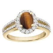 14K Yellow Gold Natural Tiger Eye Split Shank Ring Oval 7x5 mm Halo Diamond, sizes 5 - 10