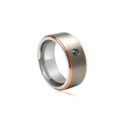 0.07 Cts Black Diamond 8 mm Tungsten Wedding Band With Pink Gold Edges
