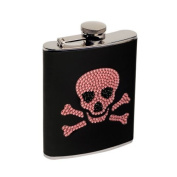"""Danger"" Pink Rhinestones- Stainless Steel Hip - Pocket Flask - 210mls"