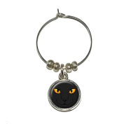 Black Cat Face - Pet Kitty Halloween Wine Glass Charm Drink Stem Marker Ring