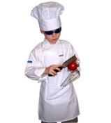 XL CHEFSKIN CHEF SET Kids Children Chef Jacket + Apron +Hat , EXCELLENT COSTUME FOR HALLOWEEN, CHRISTMAS, SCHOOL fits kids 8-11 years old