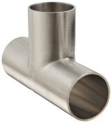 Dixon B7W-G150P Stainless Steel 304 Polished Fitting, Weld Long Tee, 2.5cm - 1.3cm Tube OD