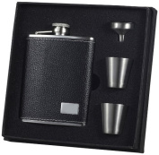 "Visol ""Eclipse S"" Leather Deluxe Flask Gift Set, 180ml, Black"