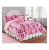 Pink Argyle Comforter Set by LivingQuarters Kids