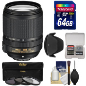 Nikon 18-140mm f/3.5-5.6G VR DX ED AF-S Nikkor-Zoom Lens with 64GB SD Card + 3 Filters + Hood + Kit for D3100, D3200, D3300, D5100, D5200, D5300, D7000, D7100 DSLR Cameras