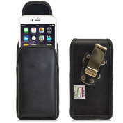 Turtleback Vertical iPhone 6 (4.7) Genuine Leather Holster Case Pouch with Heavy Duty Rotating Metal Belt Clip - Magnetic Flap Closure - Made in USA