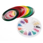 BMC Mix Neon Colour Nail Chains Striping Tape Nail Polish Art Accessory Set