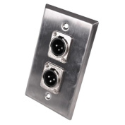 Seismic Audio Stainless Steel Wall Plate - Dual XLR Male Connectors Silver - SA-PLATE40