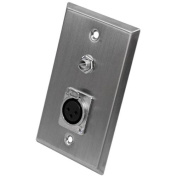 Seismic Audio Stainless Steel Wall Plate - One 0.6cm TS Mono Jack and One XLR Female Connector Silver - SA-PLATE6