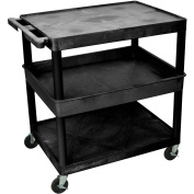 Luxor Large Flat Top and Bottom Shelf and Tub Middle Shelf Cart
