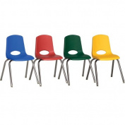 36cm Stack Chairs with Chrome Legs and Swivel Glides, 6-Pack