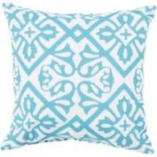 46cm Sky Blue and Ivory Square Decorative Throw Pillow