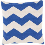 60cm Rayures De Chevron Blue and Light Grey Decorative Square Throw Pillow - Down Filler