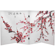 Oriental Furniture 90cm x 130cm Double Sided Plum Blossom 4 Panel Room Divider