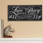 Personalised A True Love Story Canvas, 13cm x 28cm