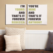 Personalised I'm Yours, You're Mine Canvas Set, Cream