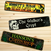 Personalised Coffin Shop Halloween Sign, 13cm x 50cm